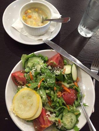 Fayetteville, AR: Seasonal salad & corn chowder cup