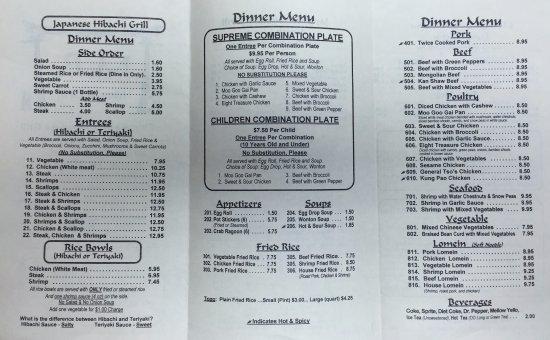 Alcoa, TN: Dinner Menu 8/2016