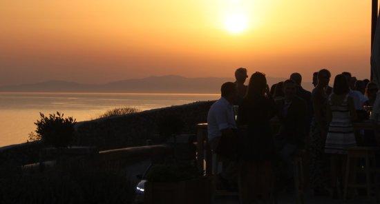 Rocabella Mykonos Art Hotel & SPA: drinks on the terrace at sunset.