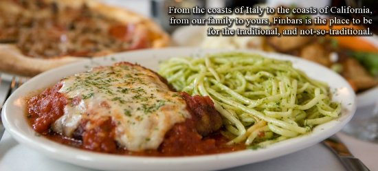 Seal Beach, CA: Chicken Parmigiana with Linguine Pesto