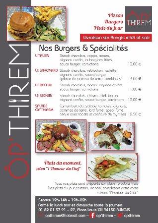Rungis, France : Carte des Burgers.....