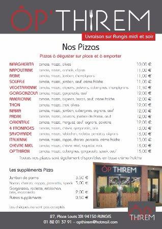 Rungis, France : carte des Pizzas.....