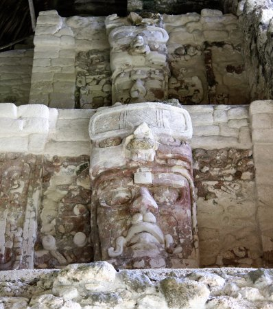 Quintana Roo, Mexico: Temple of the Masks. Kohunlich, Q. Roo, Mexico. Kinich Ahau, the Maya Sun God.