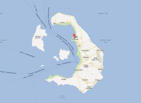 Santorini map - Tholos Resort