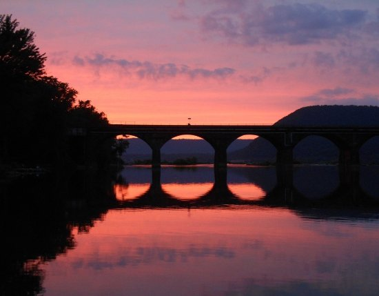 Marysville, PA: Beautiful Sunset on Rockville Bridge