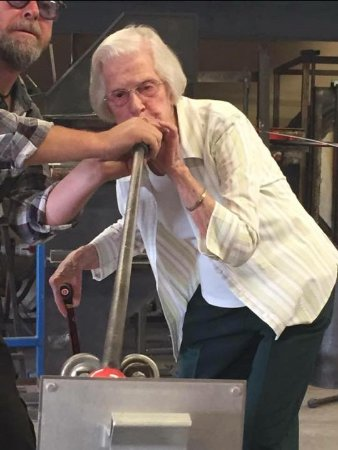 Garden City, ID: 92 years young blowing glass at Zion Warne Studios in Boise Idaho