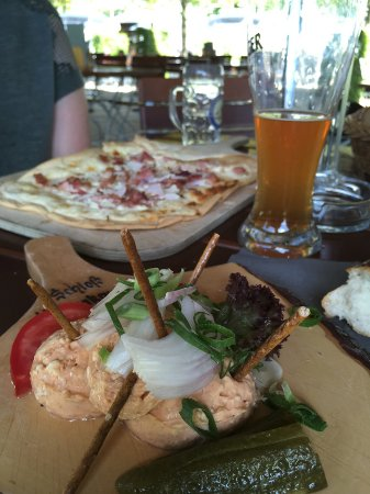 Hohenkammer, Germany: flammkuchen and obatzda