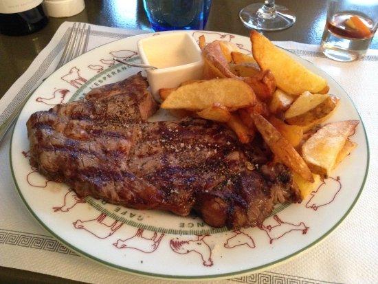 Cafe de l'esperance : Entrecôte, frites et sauce roquefort