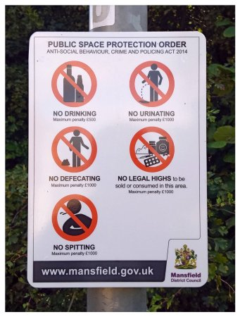 Mansfield, UK: Do locals really need a sign to inform them of what is not acceptable?