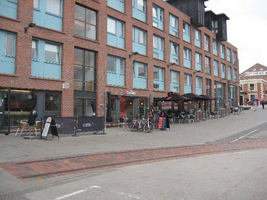 Caffe Corretto: public open square outside cafe