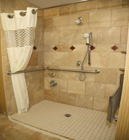 Hampton Inn & Suites Aberdeen: Accessible Roll-in shower.