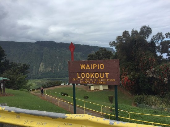 Honokaa, Hawái: Waipio Lookout Parking Lot Sign