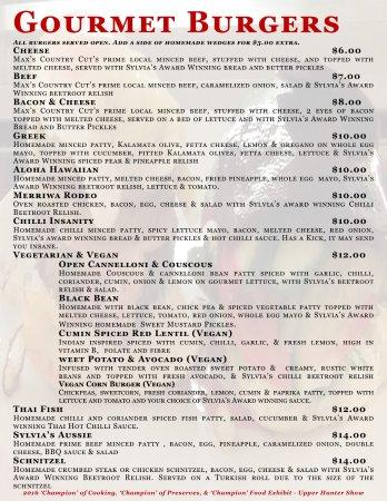 Merriwa, Australia: Gourmet Burger Menu