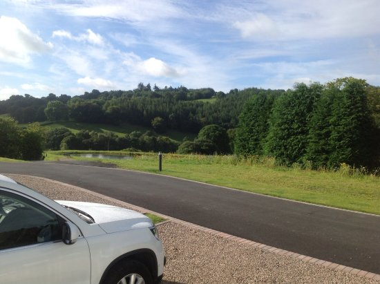Llanidloes, UK: The view from the pitch on the touring caravan site.