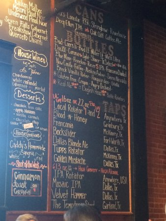 McKinney, TX: Beer menu close up