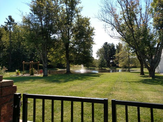 Versailles, IN: View of pond from patio