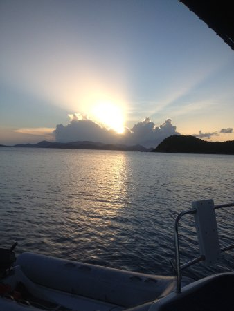Road Town, Tortola: Sunset over St. John