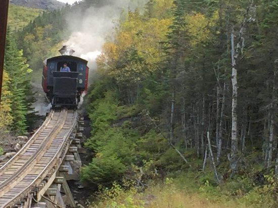 Bretton Woods, NH: The Steam Train coming down from the top of the mountain