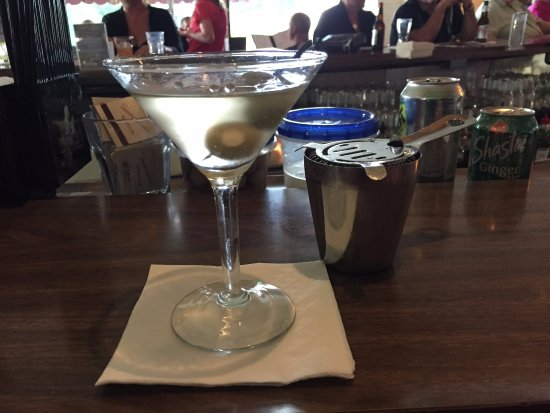 East Dubuque, IL: The dirty vodka martini with bleu cheese olives was perfectly made.