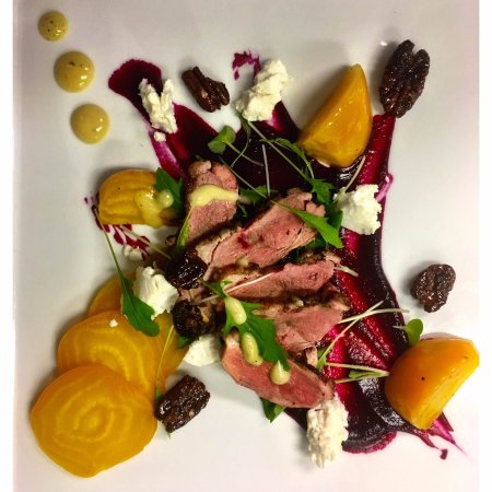 Blue Crab Seafood House: Chalk It Up Feature - Duck and Beet Salad