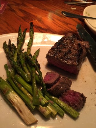 Hickory, NC: 6 Oz. Sirloin, Super Rare, Delicious, Asparagus, some pithy stems