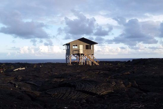 Pahoa, HI: Part I: Homes along the gravel road. These people live off the grid above the lava rock.