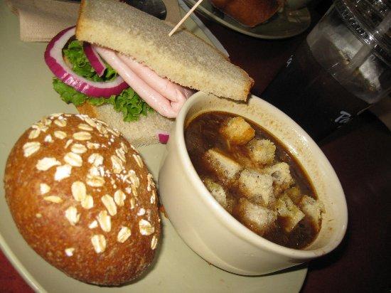 panera bread signature turkey sandwich on sourdough french onion soup sprouted grain roll