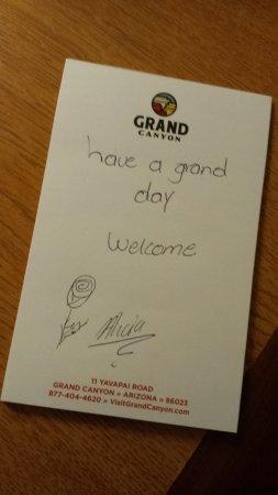 Yavapai Lodge: Nice note written by the staff :)