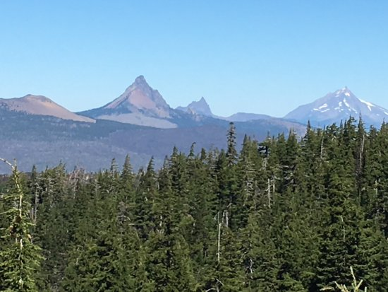 Sisters, OR: view of Belknap Crater, Mt. Washington, Three Fingered Jack and Mt Jefferson