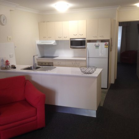 Beaches Serviced Apartments: We have updated our kitchens with caesar stone bench tops & new appliances.