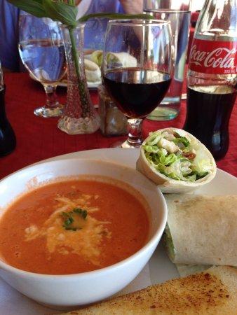 Bistro East: Homemade tomato soup & chicken Caesar wrap