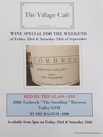 Flinders, Australia: glass of 2006 Torbreck from Magnum anyone ? ! Just $18