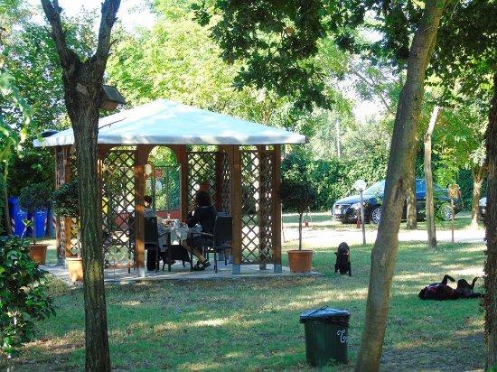 Libolla, Italië: Colazione all'aperto nel gazebo del parco