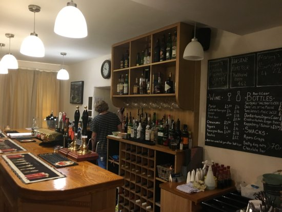 The Dolaucothi Arms - the well stocked bar with ales, beers, spirits and non-alcoholic drinks