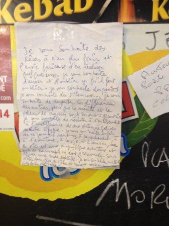 Saint-Maximin-la-Sainte-Baume, Francia: Un texte du jour scotché en haut de l'ardoise - Carte du jour