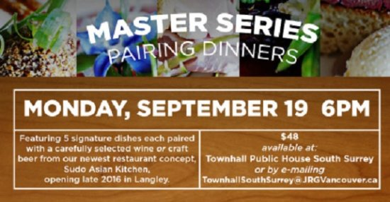 Townhall South Surrey's Master Series Pairing Dinner: The September Edition