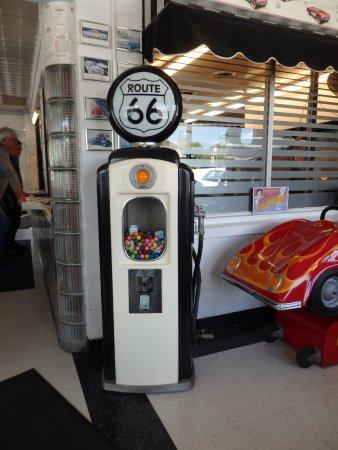 Braidwood, IL: large bubble gum machine in the shape of a retro petrol pump