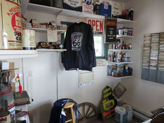 Dwight, IL: Inside the garage - see the old clock in cards for the staff