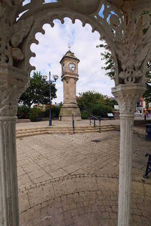 McKee Clock from old wrought iron fountain, Sunken Gardens, Bangor.