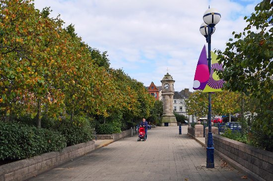 The McKee Clock and promenade, Bangor; early Autumn.
