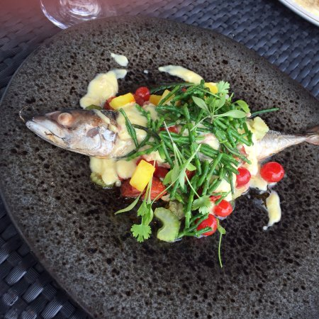 Rock, UK: Fresh Grilled Mackerel with Chorizo & Brown Shrimp