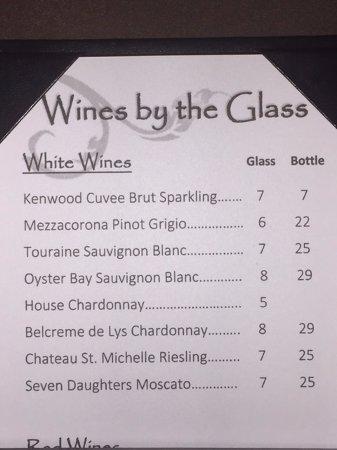 Neptune Beach, FL: White by the glass or bottle