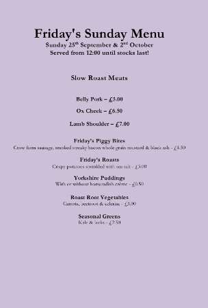 Ringwood, UK: Sunday Lunch Menu