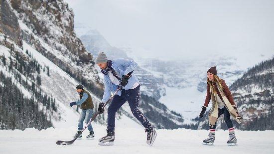 Hockey on Lake Louise