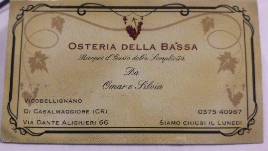 Casalmaggiore, Itália: Osteria Della Bassa