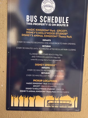 Wyndham Lake Buena Vista Disney Springs Resort Area: Bus schedule from hotel pick-up area.