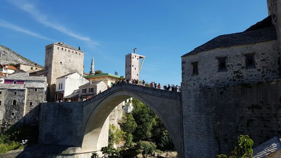 A perfect lunch enjoying a perfect view of the Mostar bridge with local food and drinks!