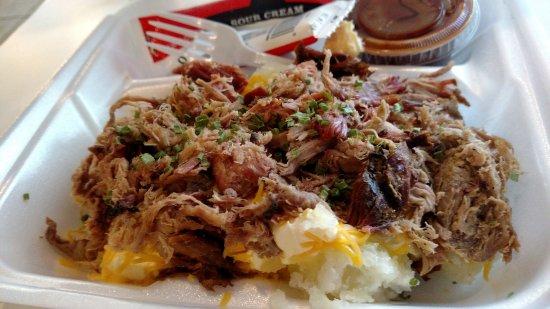 Big Boy's Barbeque : Pork Loaded Baked Potato...order extra sauce