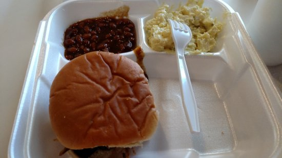 Big Boy's Barbeque: Pork sandwich, baked beans and potato salad