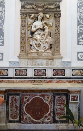 Pollina, Italien: Local church marble statue from 15th century.